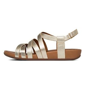 Fitfop | Lumy Leather Gold Strappy Sandals